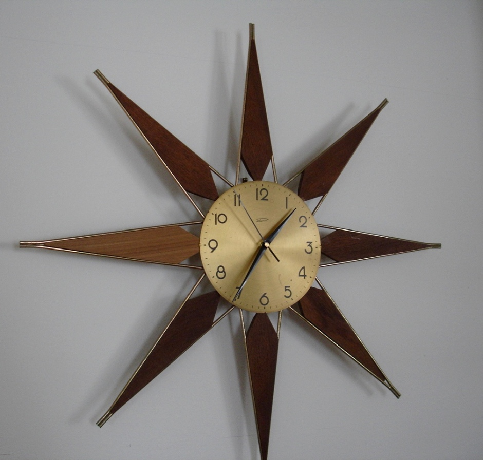 Mid Century Starburst Clock Teak Brass Refurbish Repair