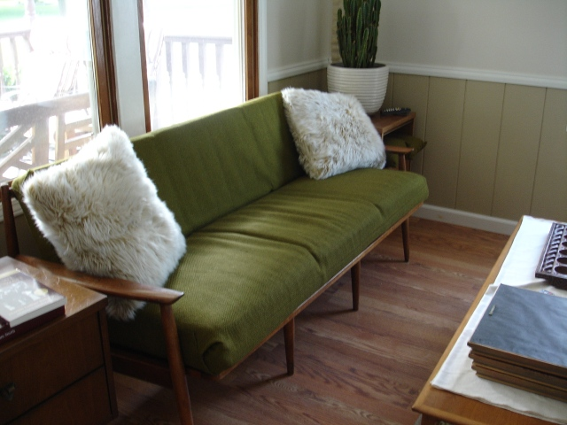 Mid Century couch makeover before and after