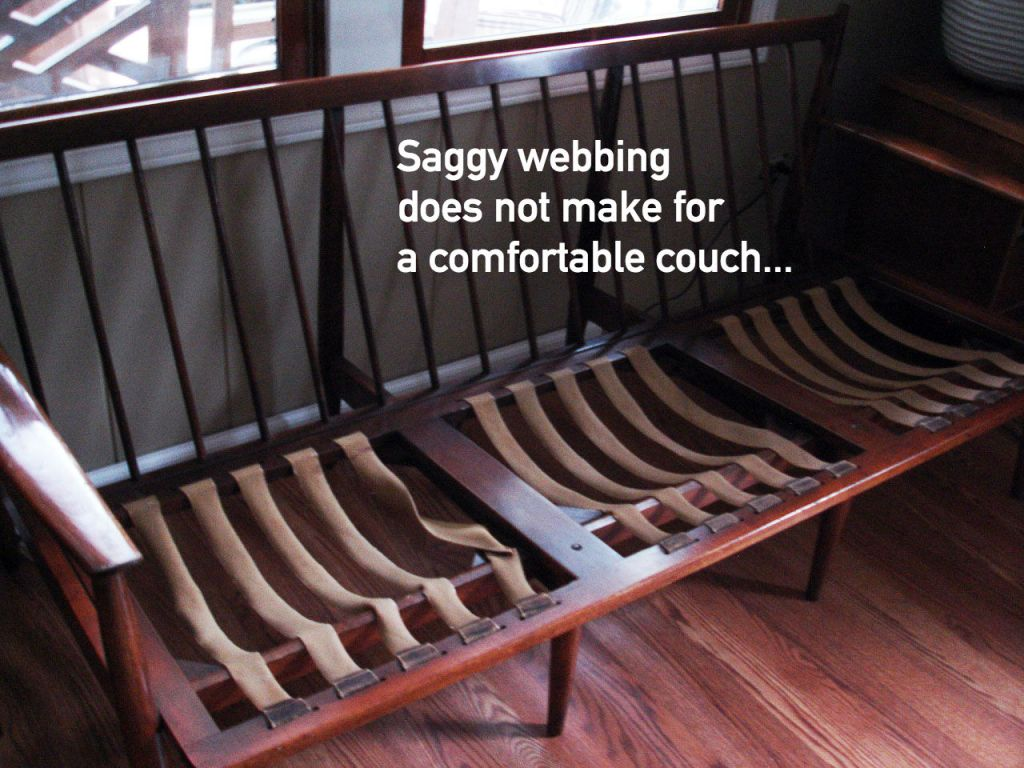 Mid Century couch replace Pirelli webbing