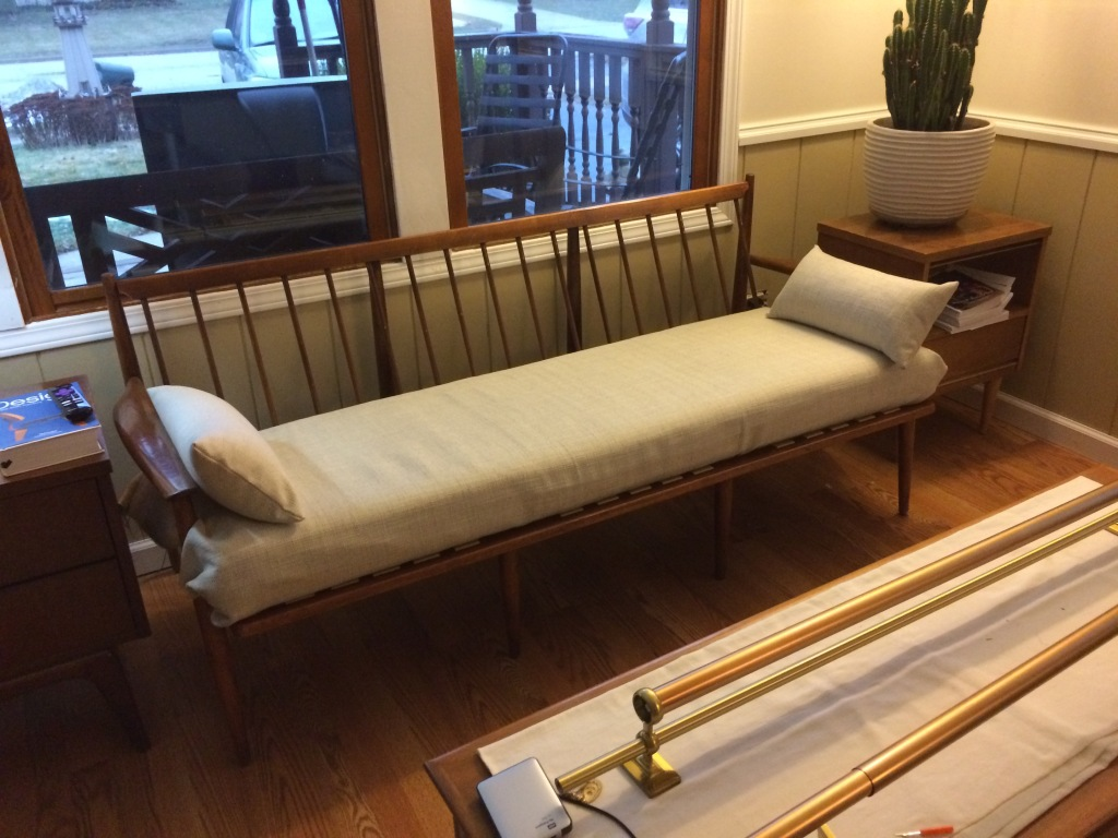 Mid century couch makeover reupholster