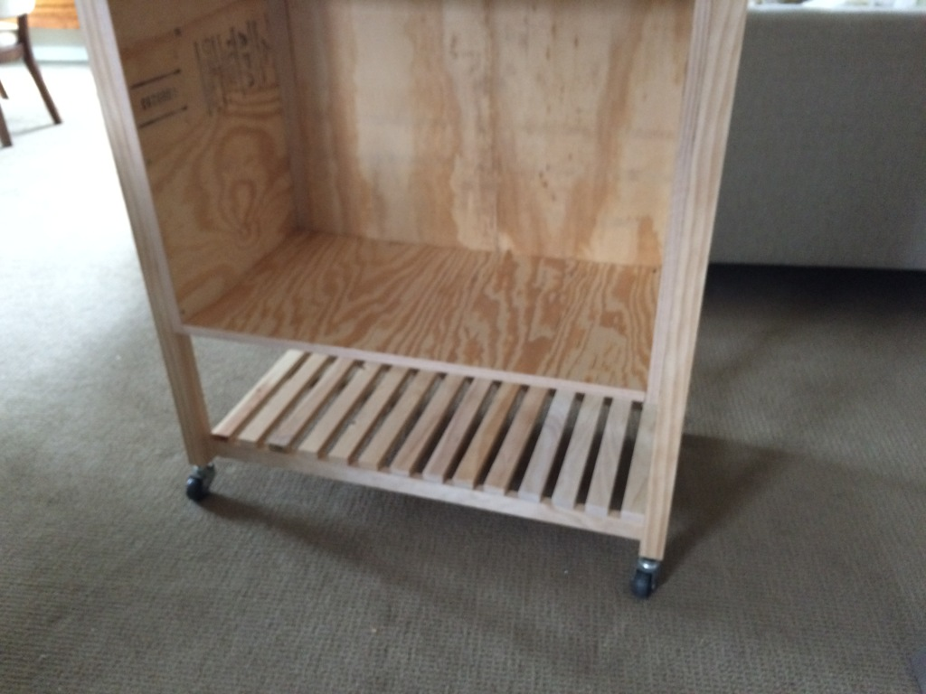 Framed kitchen cart with shelf