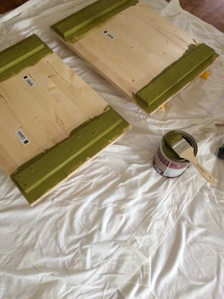 Painting the Kitchen cart in Green