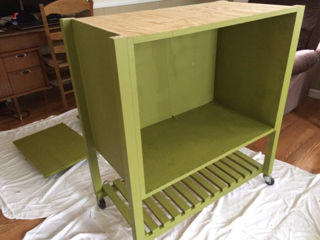 Kitchen cart painted green