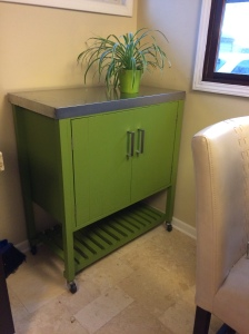Kitchen Cart with Stainless Steel Top in Greenery