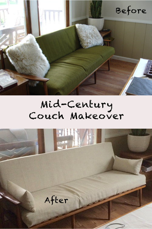 Mid Century Couch Before and After Makeover