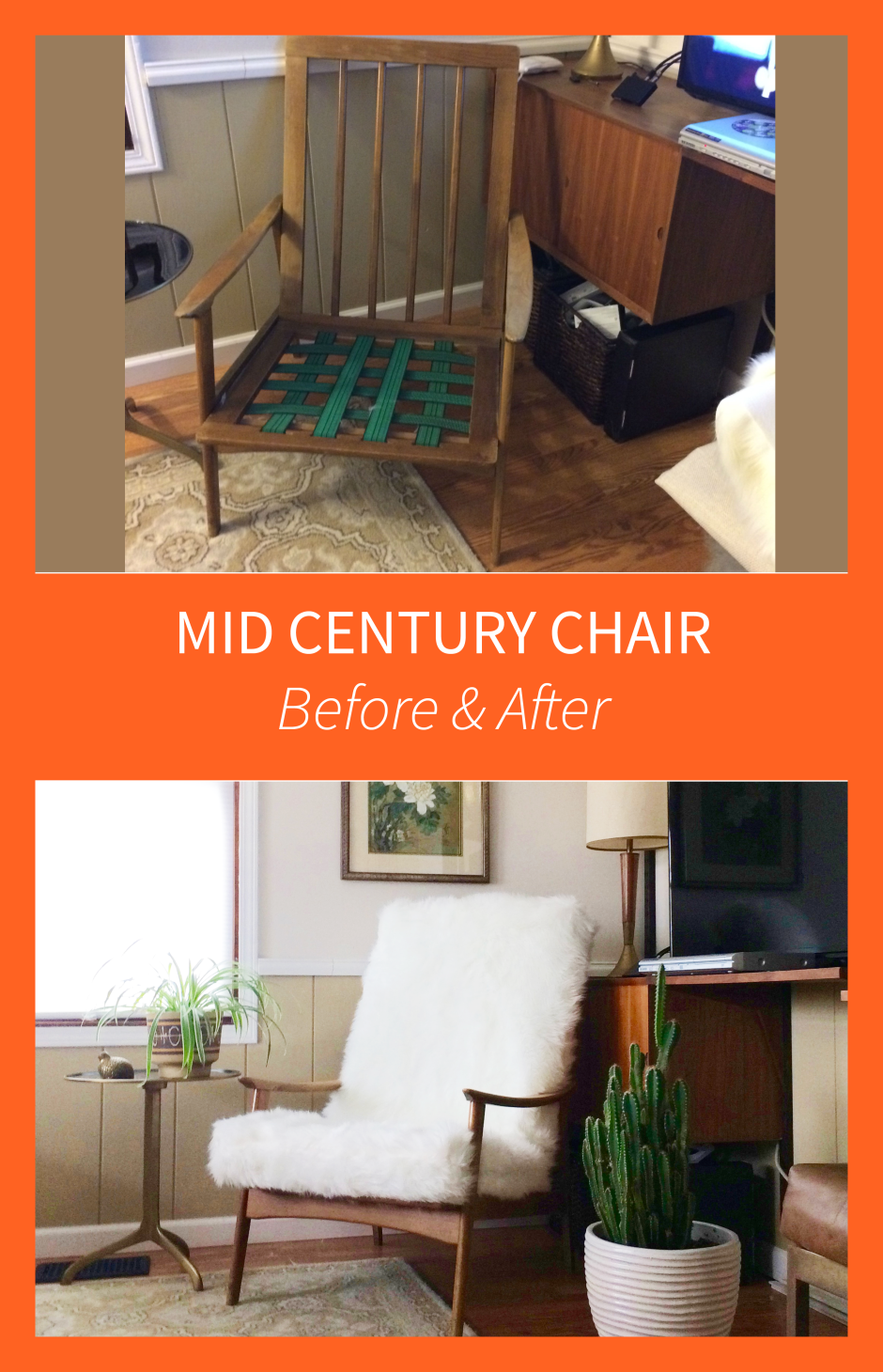 Mid Century Chair Before & After Furry Furniture